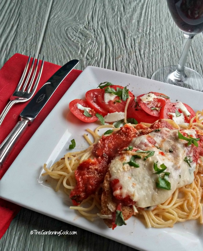easy Parmesan chicken and wine