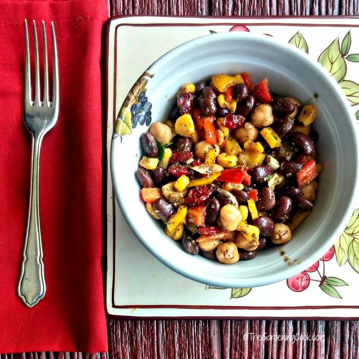 Mediterranean bean & chick pea salad.
