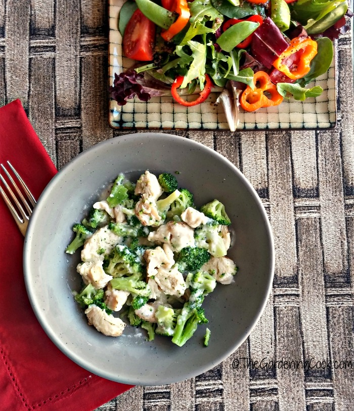 Healthy choice simply steamer chicken alfredo and salad