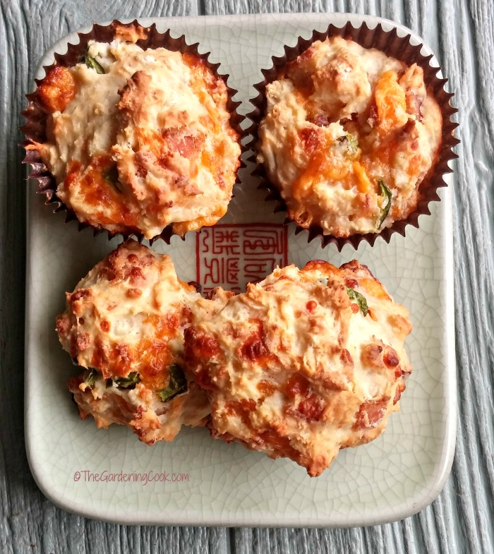 Bacon jalapeno cheese muffins and biscuits on a plate.