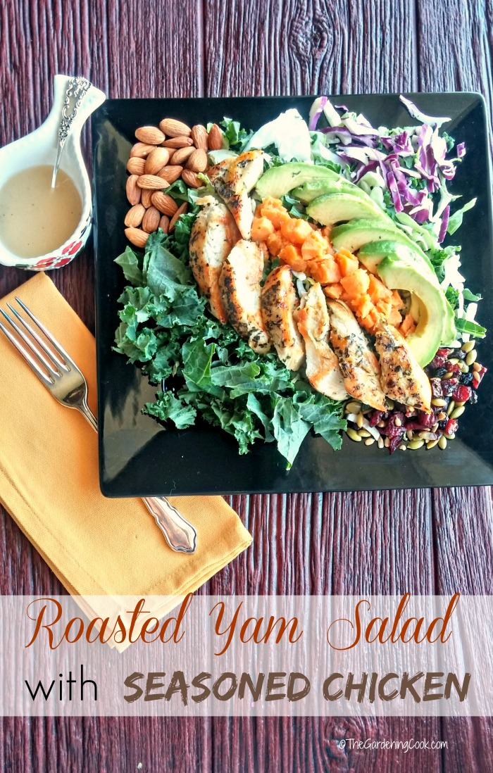 This roasted yam salad with seasoned chicken has the most amazing flavor. It is just chock full of superfoods. thegardeningcook.com #EatSmartVeggies #ad