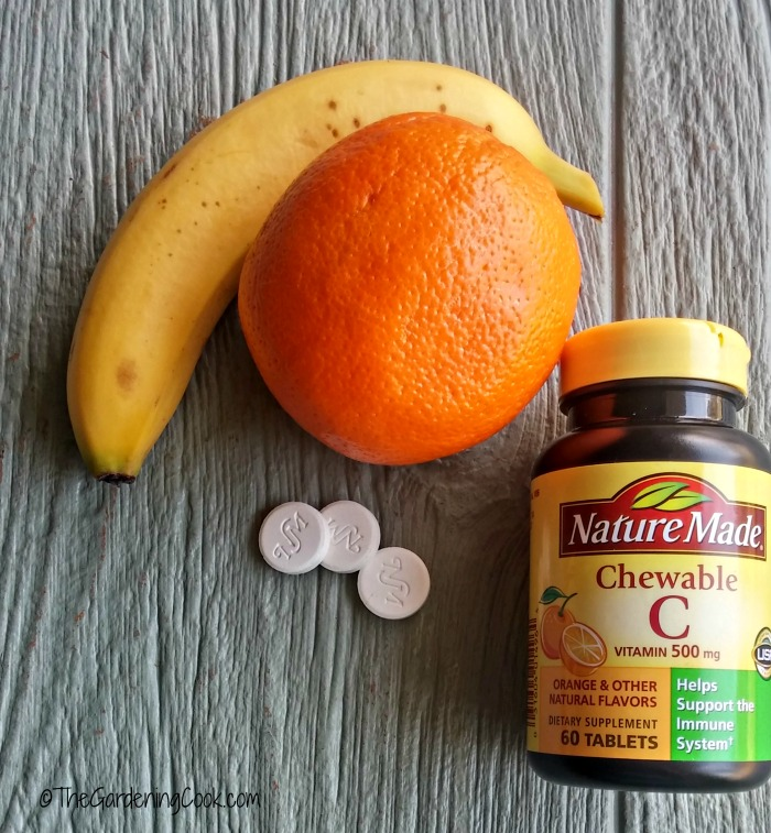 It would take over 7 oranges or 50 bananas to equal one Vitamin C chew-able tablet