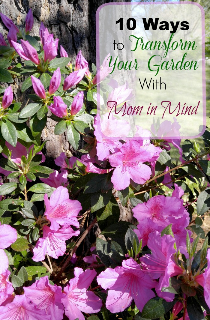 Pretty azalea flowers in bloom with over lay reading 10 ways to transorm your garden with mome in mine