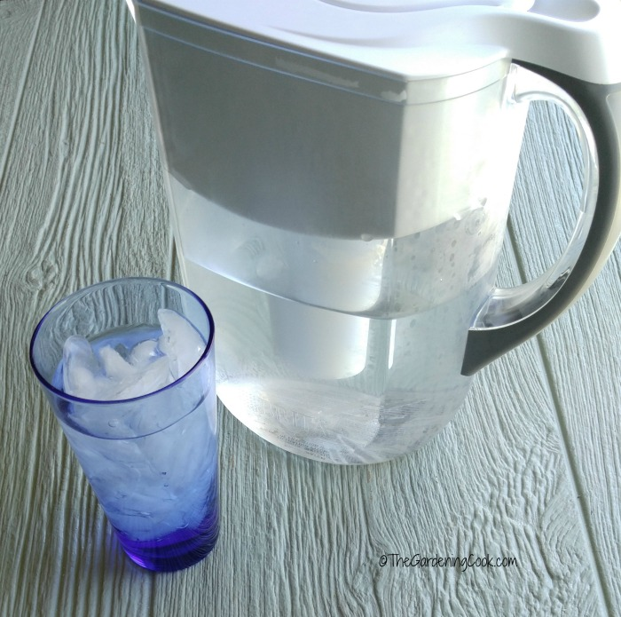 Brita filtered water picture and glass of water helps to saves on plastic use. Protect the environment.