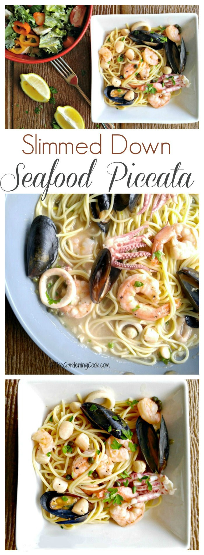 This light seafood piccata recipe is tangy and fresh tasting and has a lot less calories than the restaurant version. thegardeningcook.com