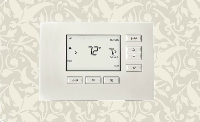 72 degrees on a white thermostat. Conserve energy by adjusting your thermostat.