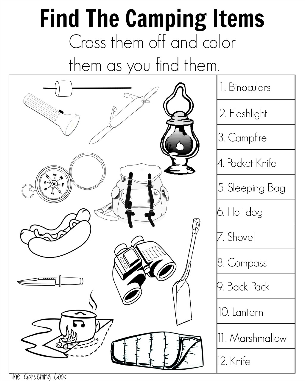 Camping Fun Find and Color Printable