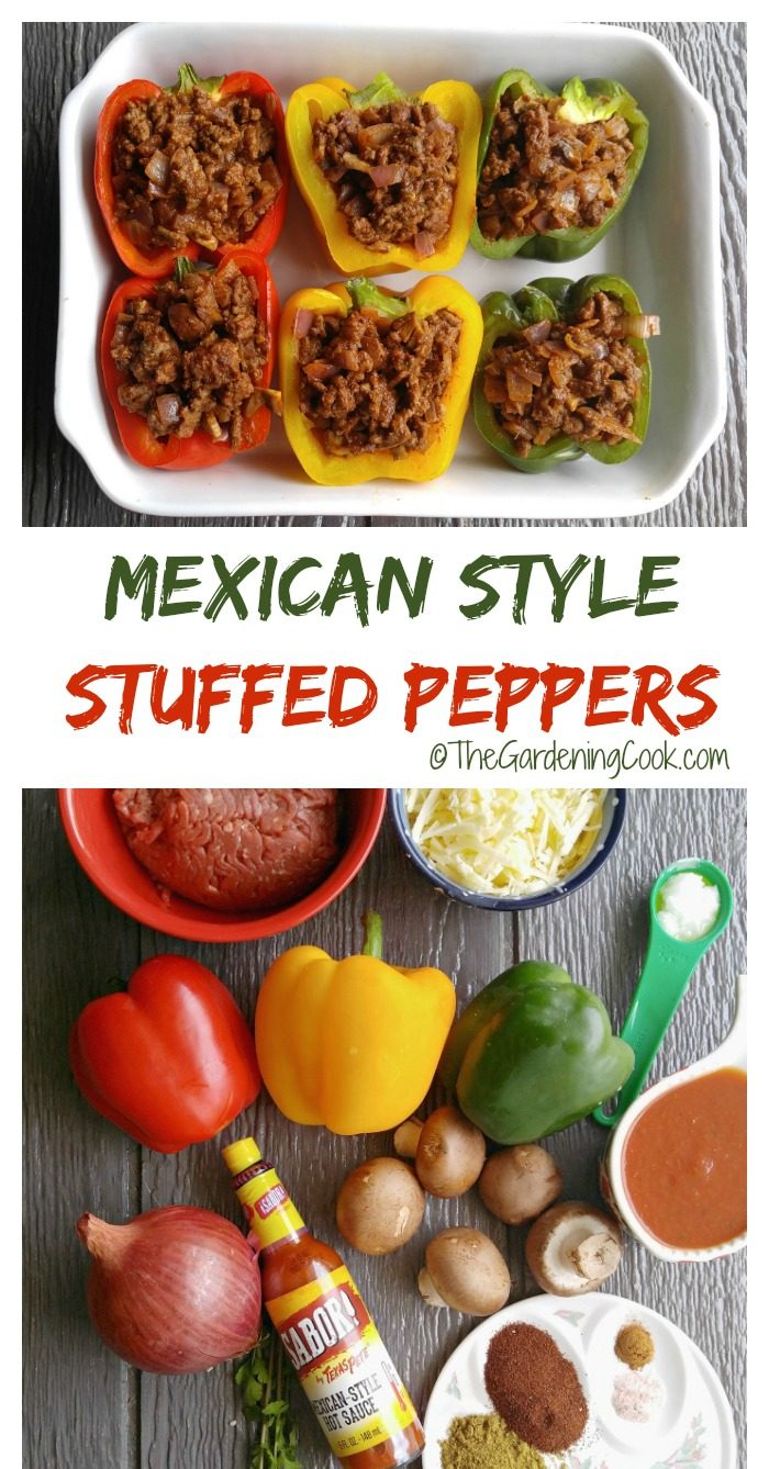 vegetables and peppers with stuffing in a collage with words Mexican style stuffed peppers.