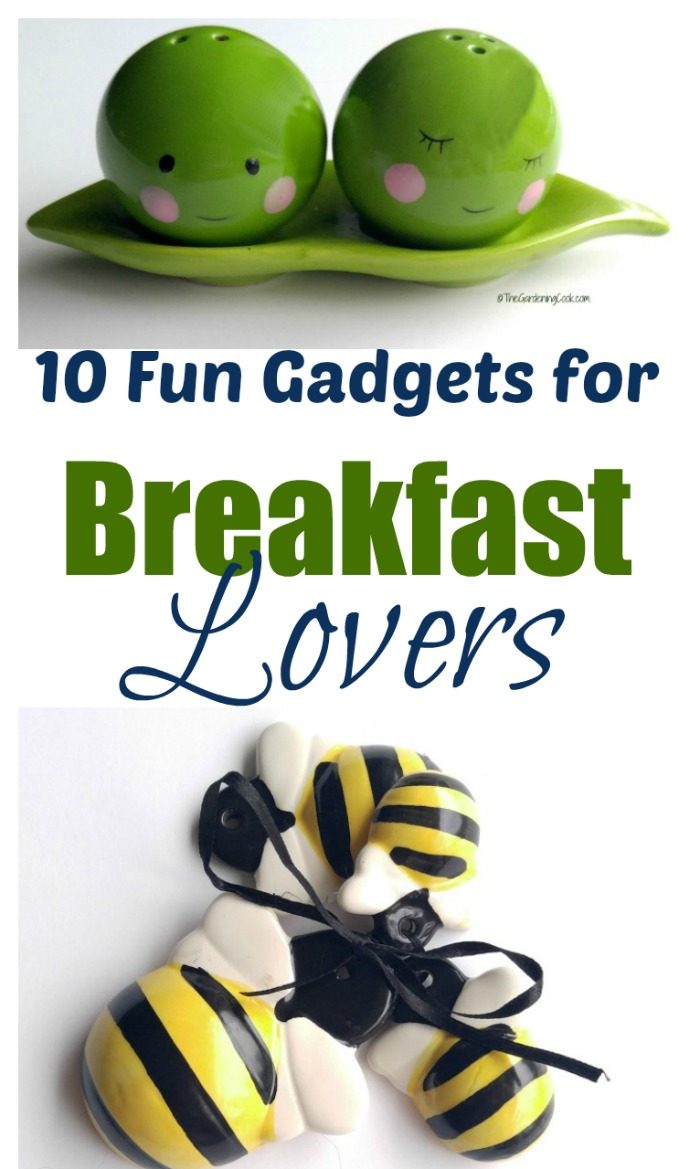 Salt and pepper shakers shaped like peas and measuring spoons shaped like bees with words reading 10 Fun Gadgets for Breakfast Lovers