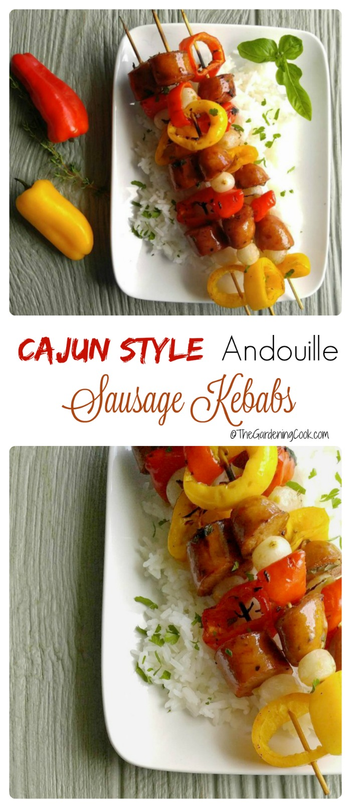 Therse Cajun style Andouille sausage kebabs have a slightly spicy taste that pairs beautifully with a Merlot wine. thegardeningcook.com #SavorYourSummerRecipes #ad