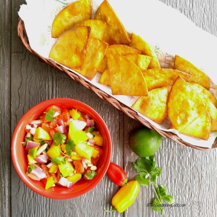 mango salsa and homemade tortilla chips