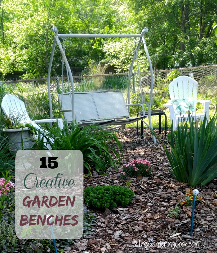 These 15 Creative Garden Benches will have you relaxing in style in your garden setting. thegardeningcook.com
