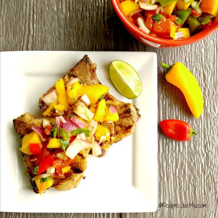 Mango salsa and grilled pork.