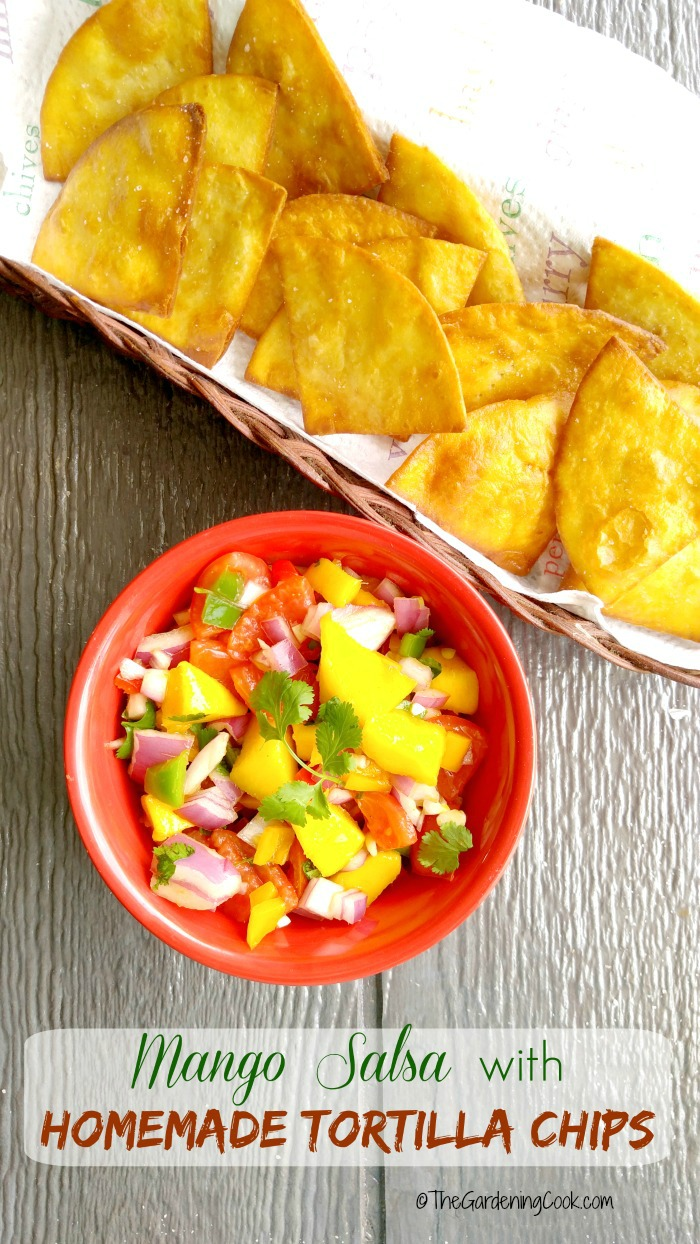 This recipe for mango salsa and homemade tortilla chips is the prefect appetizer for any gathering. Great for Cinco de mayo too! thegardeningcook.com