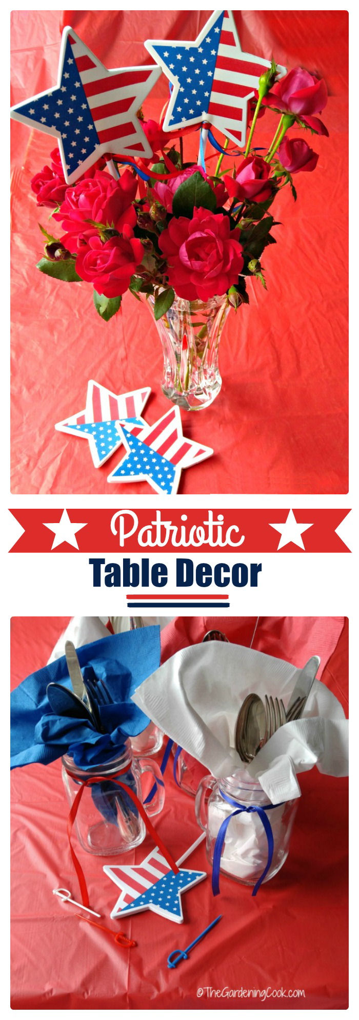 You don't have to spend a lot of time or money on Patriotic table decor for your Memorial Day or Fourth of July parties. See my tips for inexpensive and fast patriotic decor ideas. thegardeningcook.com #DipintoMeze #ad