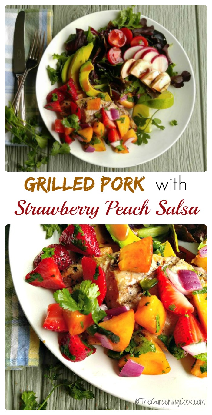 Grilled pork with strawberry peach salsa on a white plate with close up of the food.