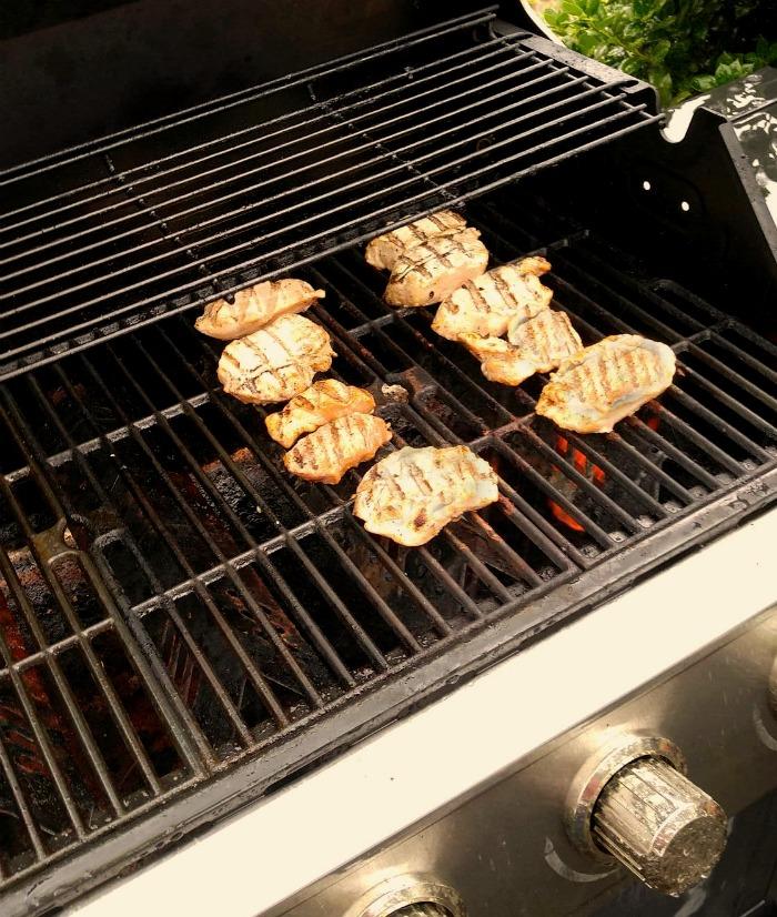 Grilling the pork.