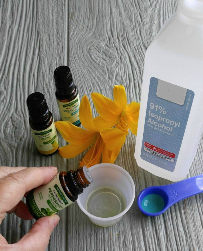 Add the essential oils to rubbing alcohol