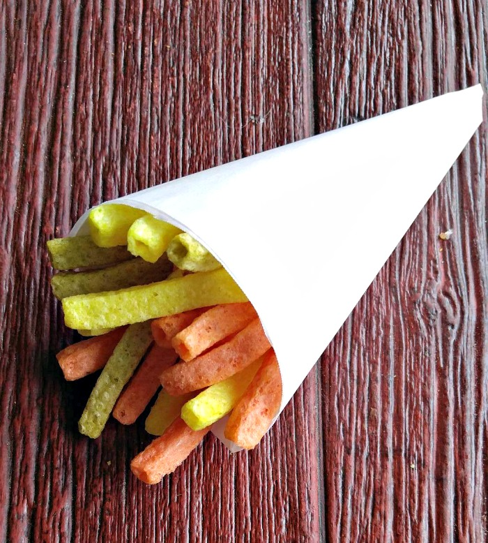 Use parchment paper to make snack cones.