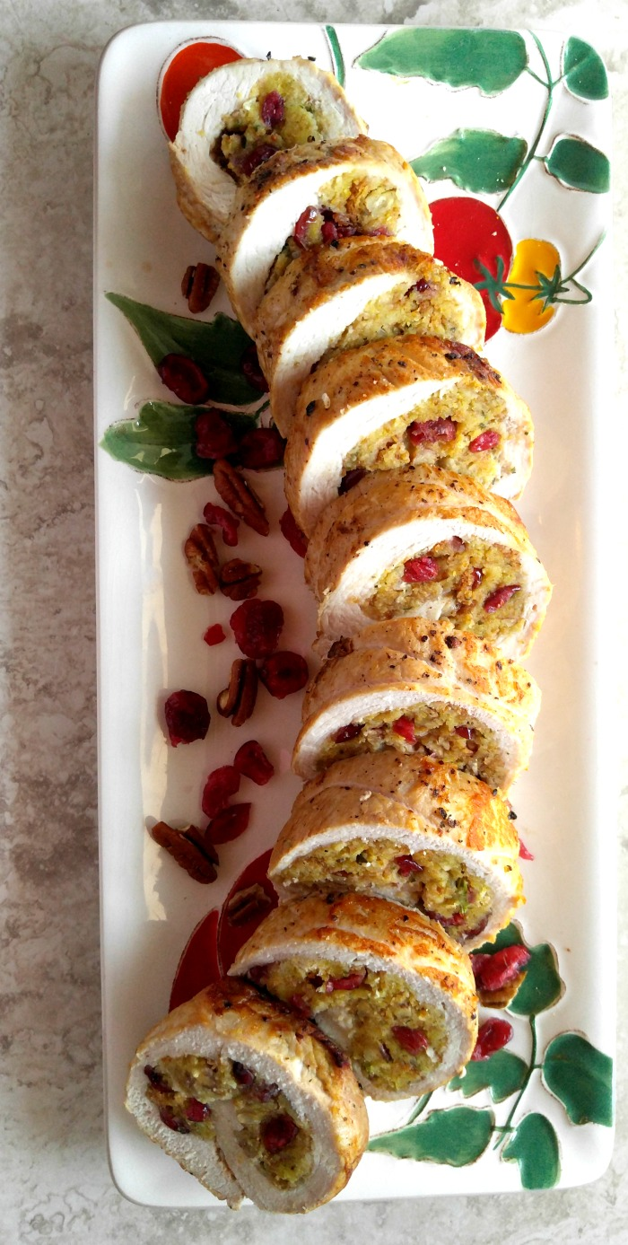 This cranberry pecan stuffed pork tenderloin is a perfect choice for a busy weeknight OR a special occasion. thegardeningcook.com #RealFlavorRealFast #ad