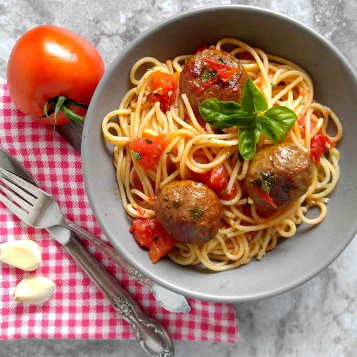 Abruzzese Italian meatballs in a home made buttery tomato sauce