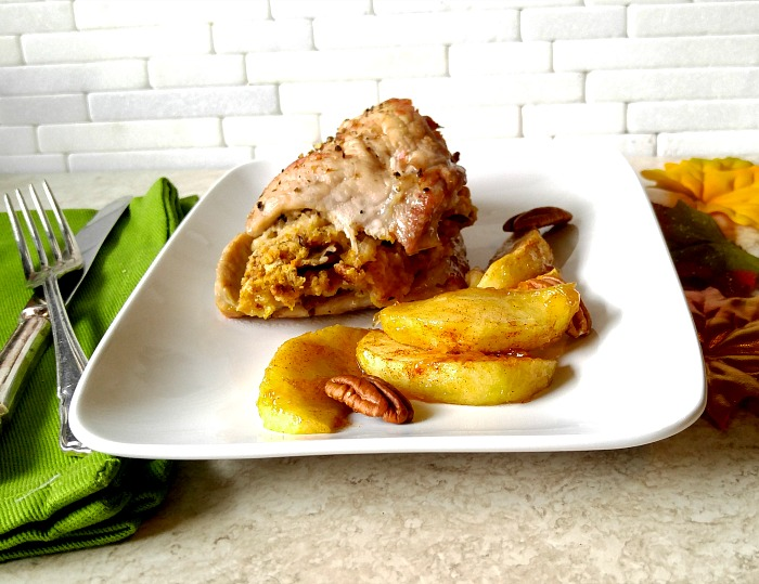 Apple and pecan stuffed pork chops