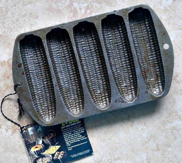 rusty cast iron corn bread pan