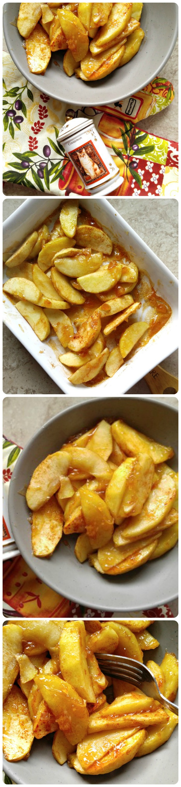 These cinnamon baked apple slices are the perfect side dish to go with pork chops. They are sweet but not overly so and perfectly tender.