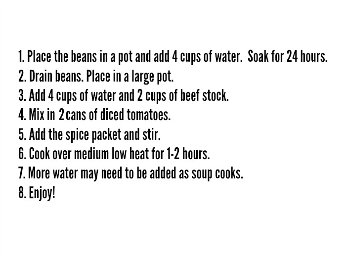 Recipe card for 7 bean mix