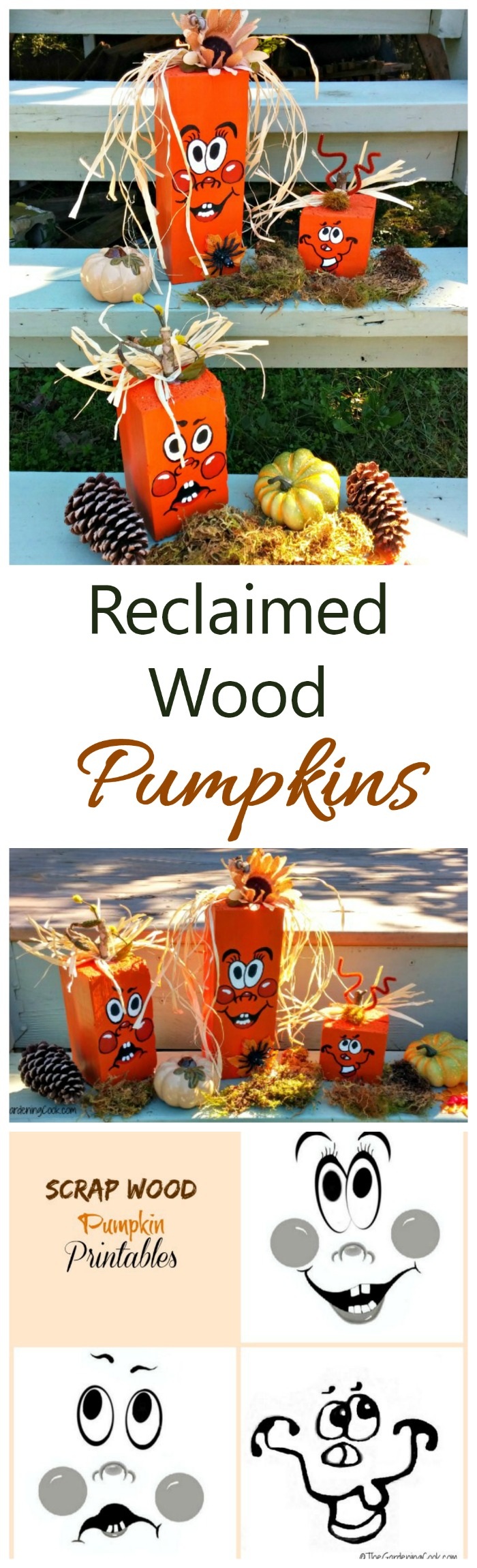 These reclaimed wood pumpkins started out as an old mail box post. They are easy and fun to do and add great curb appeal. #halloweendecor #fallDIY