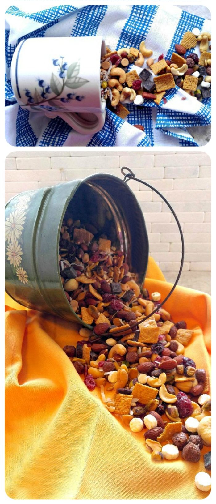 Flowered pil with trail mix pouring out and cup with trail mix beside it.