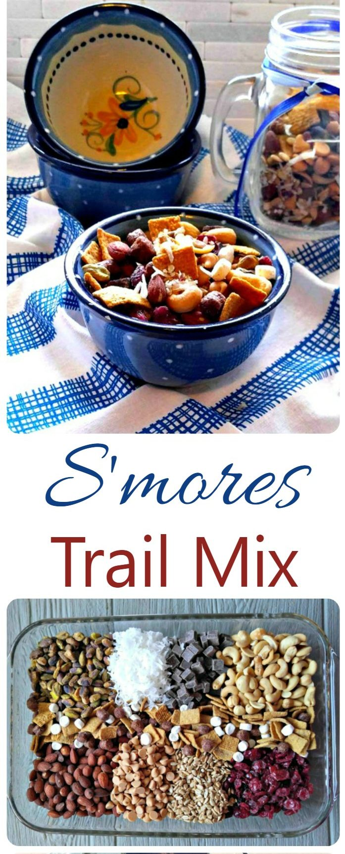 Bowl of trail mix and container of ingredients to make it with word reading S'mores Trail Mix.