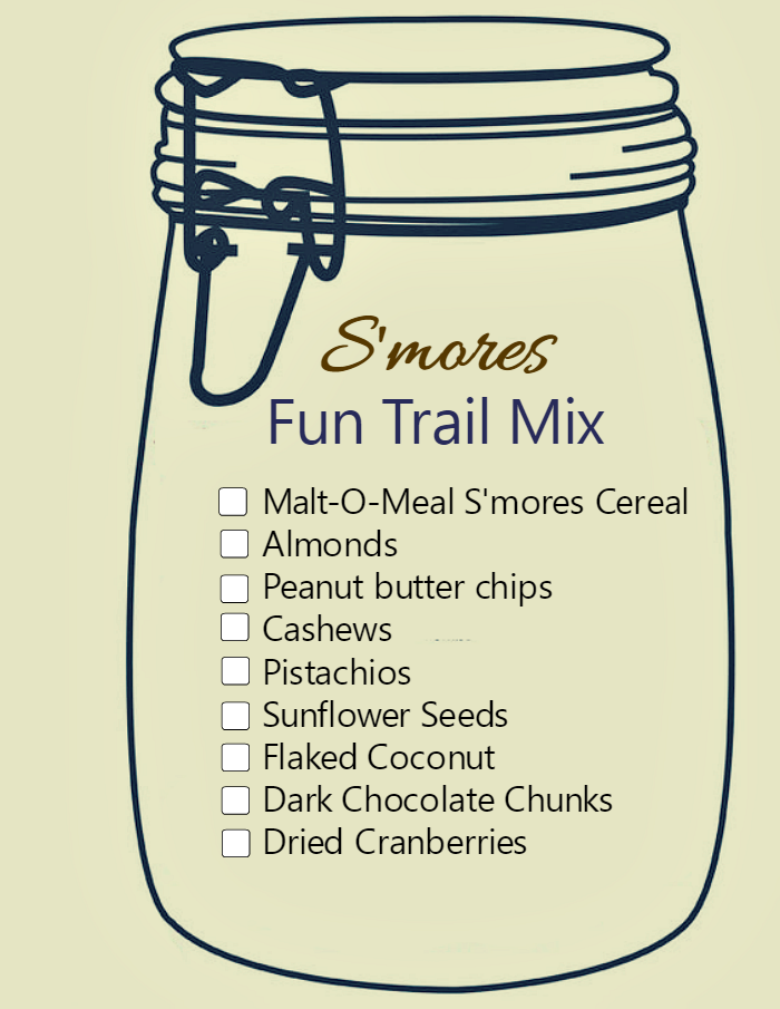 S'mores Trail mix printable graphic. Make the mix and put it in a mason jar and print out the label. Makes a great Christmas gift!