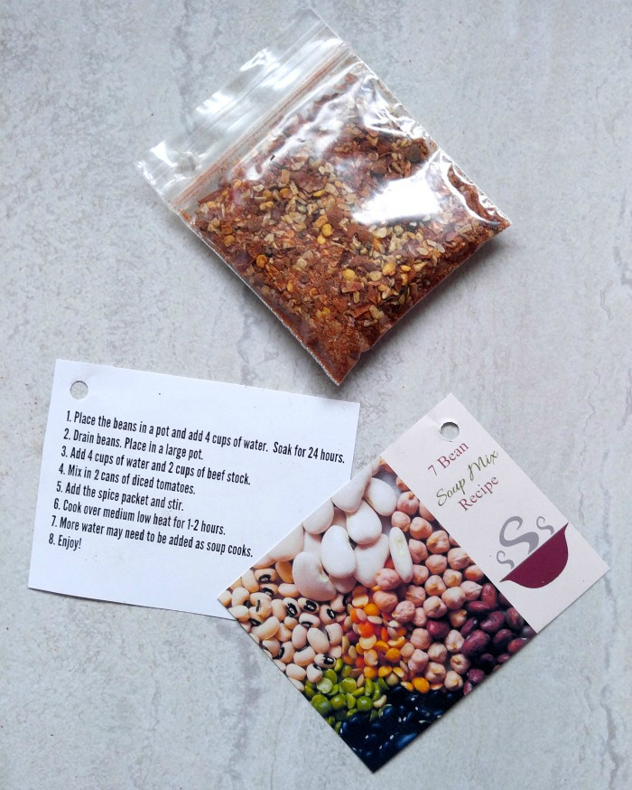 Spice packet, jar label and recipe