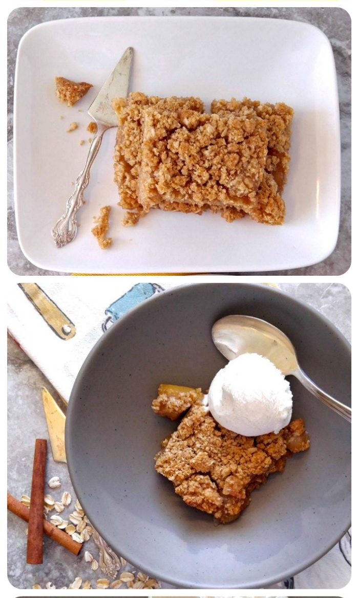 apple pie oatmeal bars with ice cream in a collage.