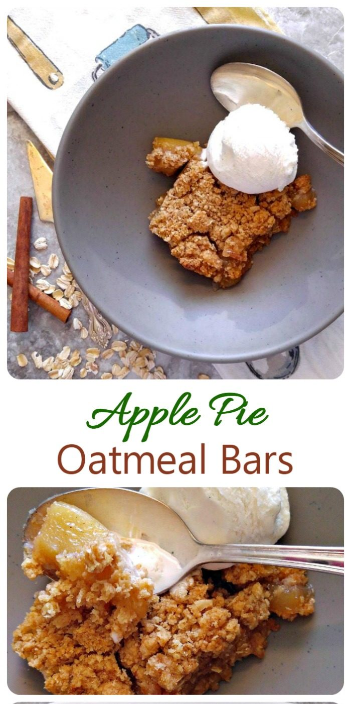 Slice with whipped cream and spoon and close up of the dessert with words reading apple pie oatmeal bars.