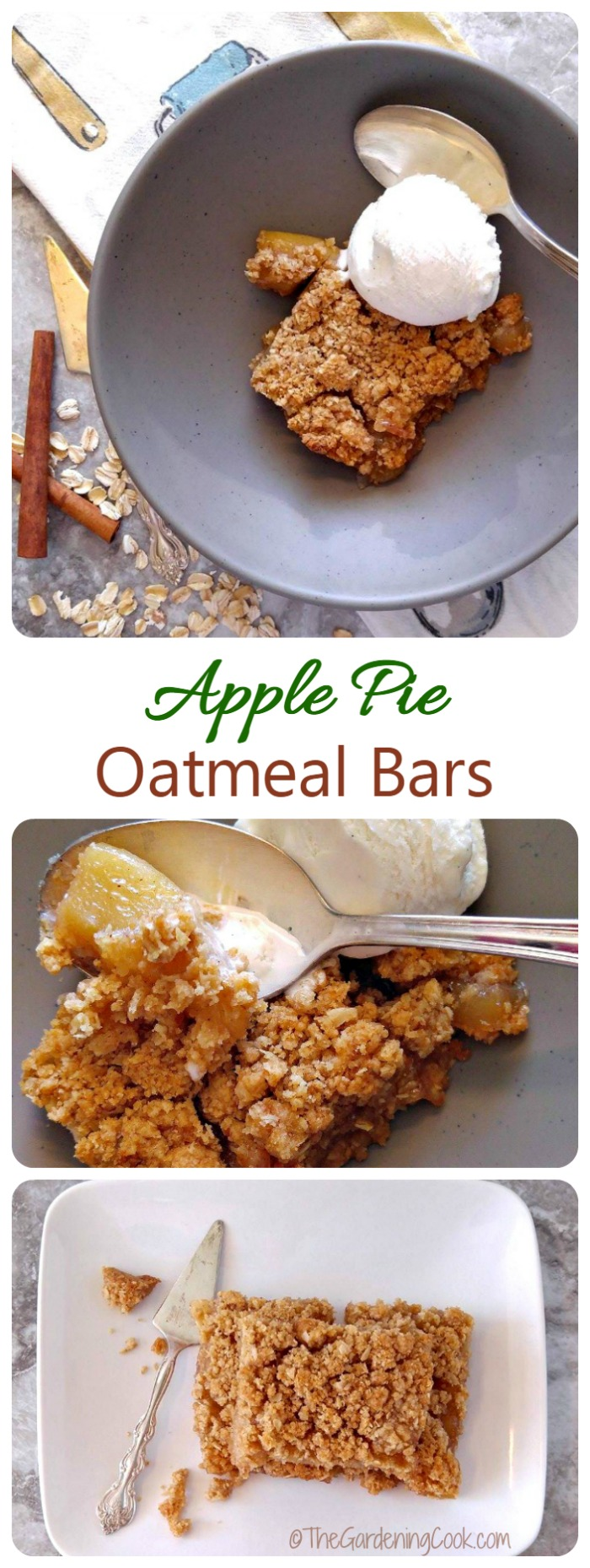 These apple pie oatmeal bars are perfect for fall. They taste like grandma's apple pie without the crust. So yummy! #Oatober #IC #ad