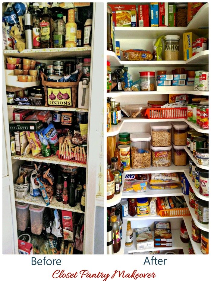 Closet pantry makeover. Before and after pictures