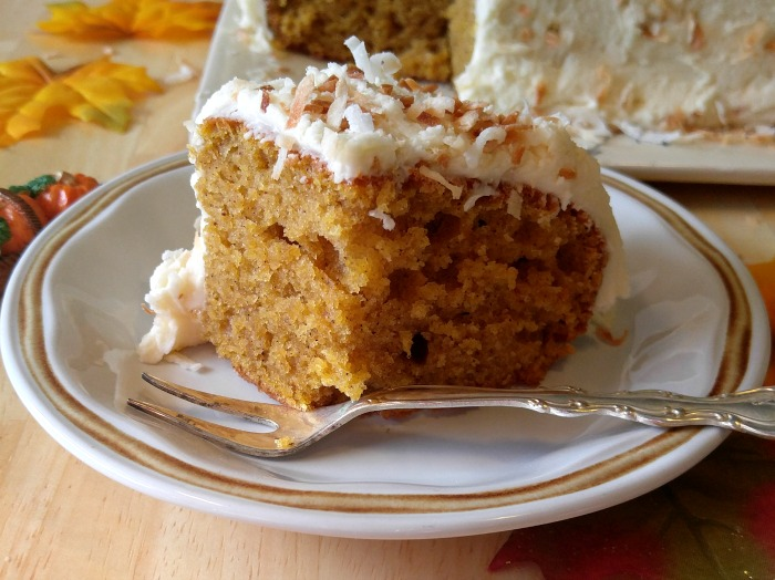 Every bite of this pumpkin coconut cake is moist and delicious.
