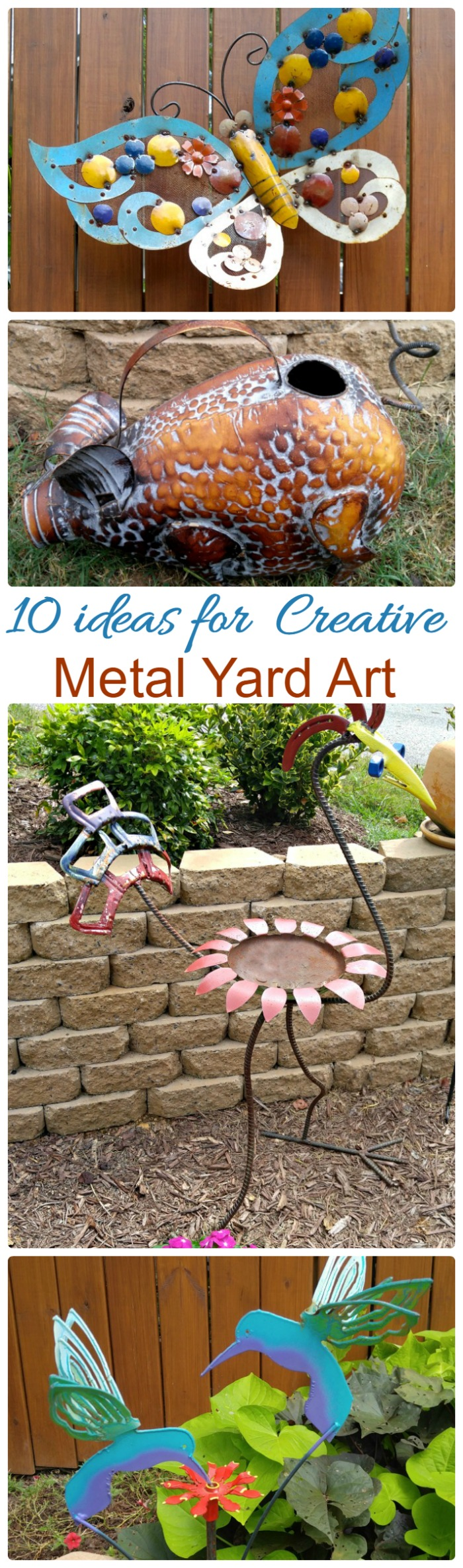 Creative metal yard art adds a whimsical touch to any garden setting. These 10 ideas will give you some inspiration for your garden.