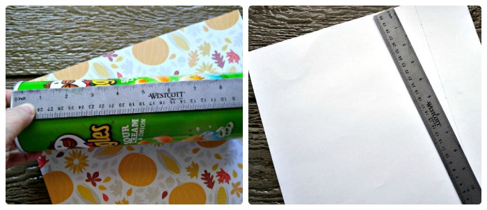 Measure and cut the scrap book paper to the length of the can.