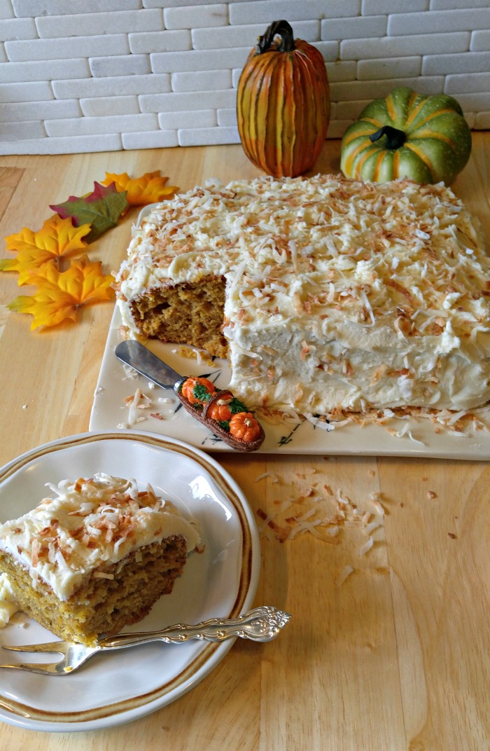 This pumpkin cake is moist and delicious and has a crunchy toasted coconut frosting.