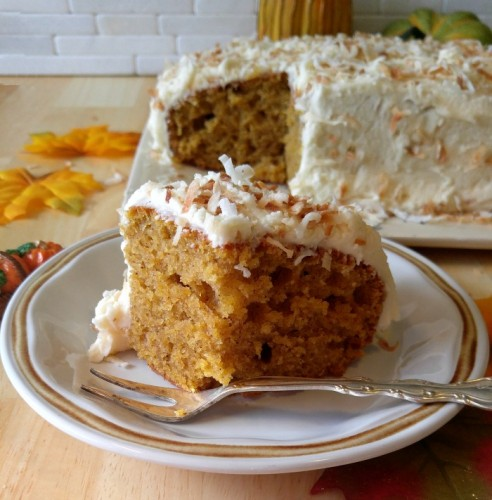 Take a bite of this pumpkin cake with a toasted coconut frosting.