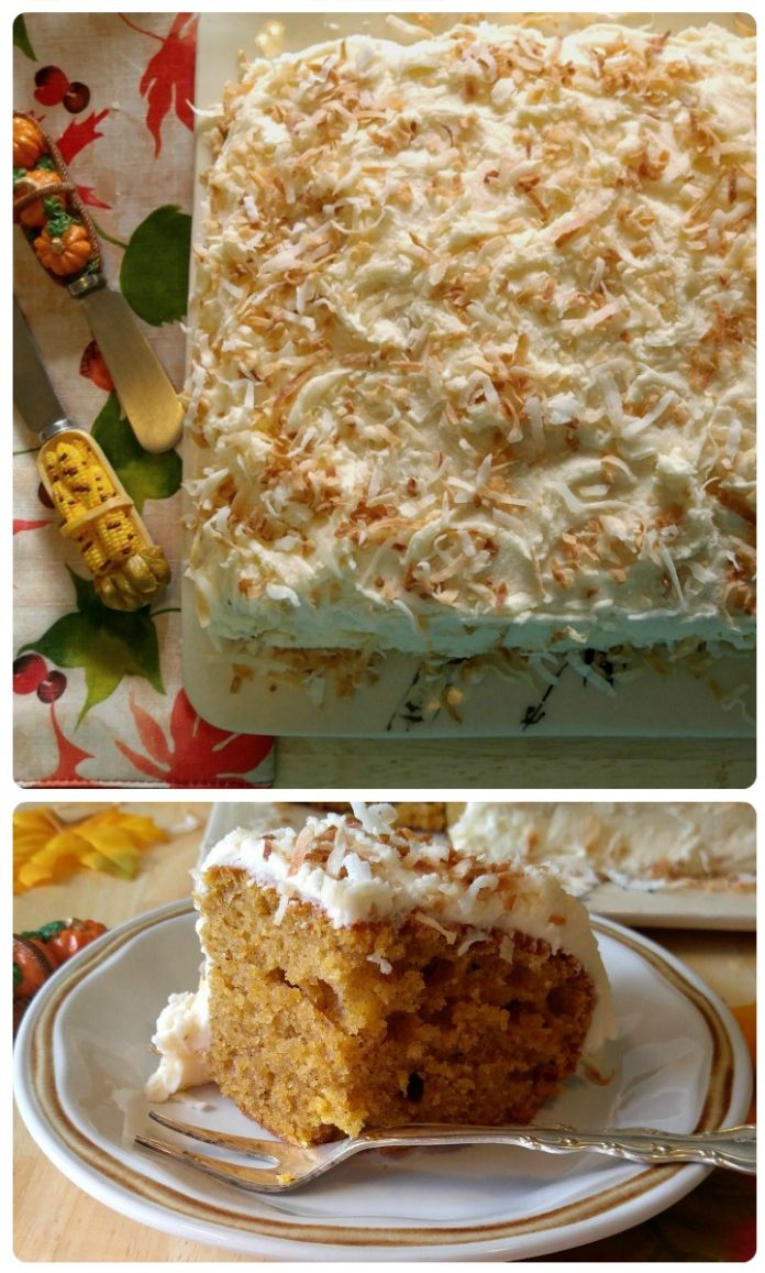 Pumpkin cake with toasted coconut icing on a plate with a fork.