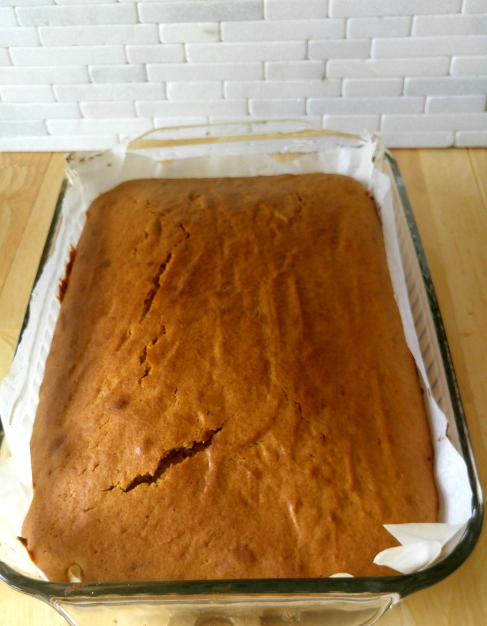 Pumpkin cake is ready to frost