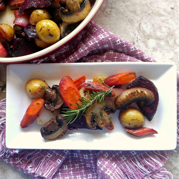 This Roasted root vegetable medley is a perfect fall side dish