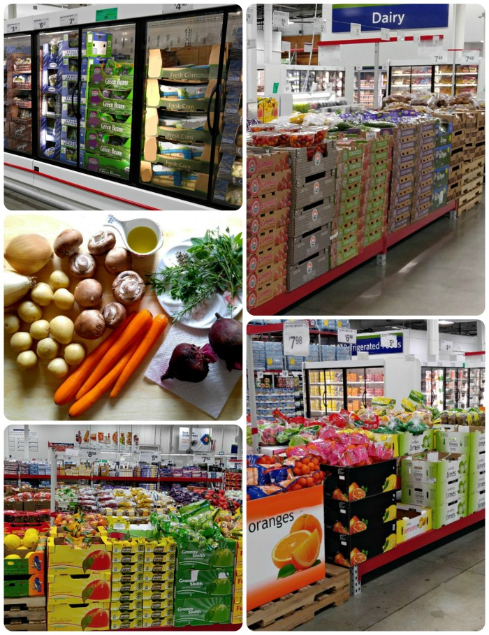 Sam's Club produce section collage