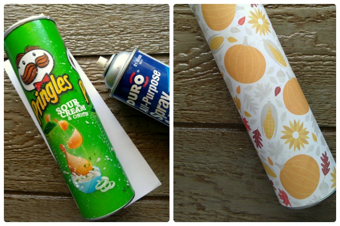 Spray the can and wrap with the scrapbook paper