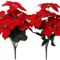 Artificial Poinsettia Flowers Fake 7 Heads