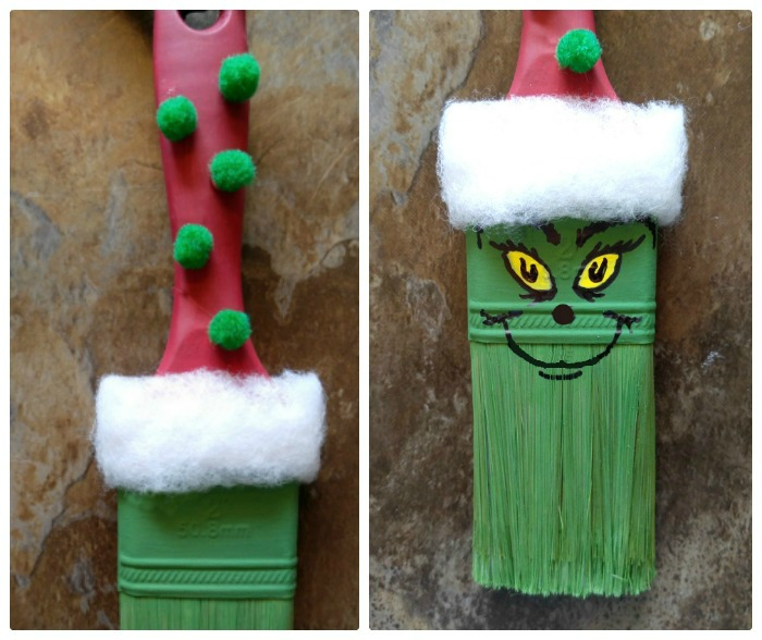 Add green pom poms to the shank of the brush and paint the Grinch face.